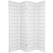 Oriental Furniture 70'' x 56'' Window Pane Shoji 4 Panel Room Divider; White