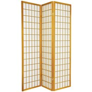 Oriental Furniture 70'' x 42'' Window Pane Shoji 3 Panel Room Divider; Honey