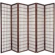 Oriental Furniture 70'' x 84'' Window Pane Shoji 6 Panel Room Divider; Walnut