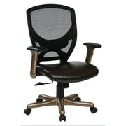 Office Star 41'' Woven Mesh Back Chair with Padded Flip Arms; Cocoa Accent/Espresso Seat Mesh