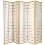 Oriental Furniture 70'' x 70'' Window Pane Shoji 5 Panel Room Divider; Natural