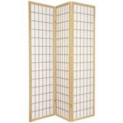 Oriental Furniture 70'' x 42'' Window Pane Shoji 3 Panel Room Divider; Natural