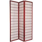 Oriental Furniture 70'' x 42'' Window Pane Shoji 3 Panel Room Divider; Rosewood