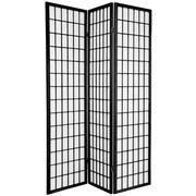 Oriental Furniture 70'' x 42'' Window Pane Shoji 3 Panel Room Divider; Black