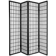 Oriental Furniture 70'' x 56'' Window Pane Shoji 4 Panel Room Divider; Black