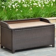 International Caravan Barcelona Wicker Resin/Aluminum Outdoor Storage Trunk Bench; Chocolate
