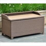 International Caravan Barcelona Wicker Resin/Aluminum Outdoor Storage Trunk Bench; Antique Brown
