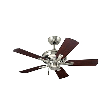 Emerson Fans 42'' Monterey 5 Blade Ceiling Fan; Brushed Steel with Dark Cherry and Dark Mahogany B