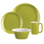 Rachael Ray Round and Square 16 Piece Dinnerware Set; Green Apple