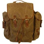 Mulholland Brothers Waxed Canvas Rucksack Backpack; Tan / Bridle Tan