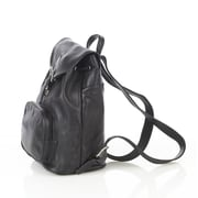 Aston Leather Backpack with Zippered Pocket; Black