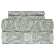 Pointehaven Heavy Weight Paisley Printed Flannel Sheet Set; Queen