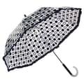 Elite Rain Auto-Open Polka Dot Ruffle Umbrella; Black