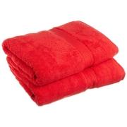 Simple Luxury Superior 900 GSM Egyptian Cotton 2-Piece Bath Towel Set; Red