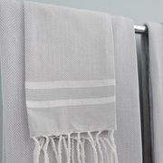 Scents and Feel Fouta Herringbone Stripe Hand Towel; Grey/White Stripe