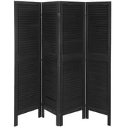 Oriental Furniture 67'' x 66'' Venetian Modern 4 Panel Room Divider; Black