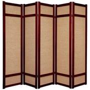 Oriental Furniture 71'' x 70'' Jute Shoji 5 Panel Room Divider; Rosewood