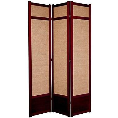 Oriental Furniture 83.5'' x 43'' Jute Shoji 3 Panel Room Divider; Rosewood