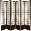 Oriental Furniture 83.5'' x 84'' Window Pane Shoji 6 Panel Room Divider; Walnut