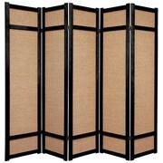 Oriental Furniture 71'' x 70'' Jute Shoji 5 Panel Room Divider; Black