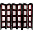 Oriental Furniture 67'' x 74'' Photo Display Shoji 6 Panel Room Divider; Black