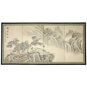 Oriental Furniture 18'' x 36'' Mountain of Knowledge 4 Panel Room Divider
