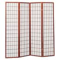 Hazelwood Home 70'' x 70'' Sonji 4 Panel Room Divider; Cherry