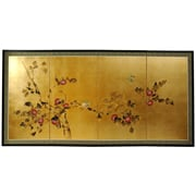 Oriental Furniture 18'' x 36'' Gold Leaf Blossom 4 Panel Room Divider