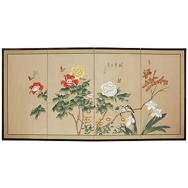 Oriental Furniture 36'' x 72'' Butterflies in The Garden 4 Panel Room Divider