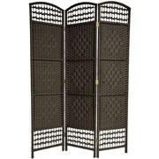 Oriental Furniture 67'' x 38'' Tall Fiber Weave 3 Panel Room Divider; Black