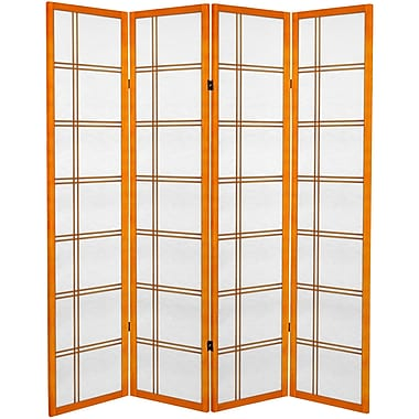 Oriental Furniture 71'' x 63'' Double Cross 4 Panel Room Divider; Honey