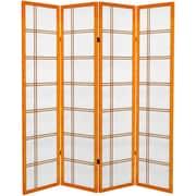 Oriental Furniture 71'' x 63'' Double Cross 4 Panel Room Divider; Honey