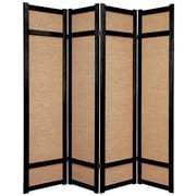Oriental Furniture 71'' x 56'' Jute Shoji 4 Panel Room Divider; Black