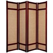 Oriental Furniture 71'' x 56'' Jute Shoji 4 Panel Room Divider; Rosewood