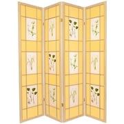 Oriental Furniture 72'' x 56'' Herbal Floral Shoji 4 Panel Room Divider; Natural