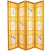 Oriental Furniture 72'' x 56'' Herbal Floral Shoji 4 Panel Room Divider; Honey