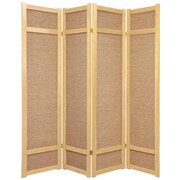 Oriental Furniture 71'' x 56'' Jute Shoji 4 Panel Room Divider; Natural