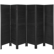Oriental Furniture 67'' x 100'' Tall Modern Venetian 6 Panel Room Divider; Black