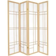 Oriental Furniture 70.25'' x 56'' Eudes Shoji 4 Panel Room Divider; Natural