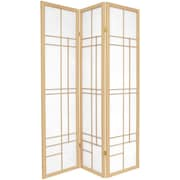 Oriental Furniture 70.25'' x 42'' Eudes Shoji 3 Panel Room Divider; Natural