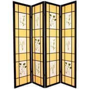 Oriental Furniture 72'' x 56'' Herbal Floral Shoji 4 Panel Room Divider; Black