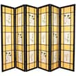 Oriental Furniture 72'' x 84'' Herbal Floral Shoji 6 Panel Room Divider; Black