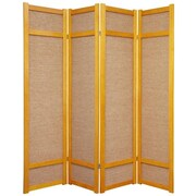 Oriental Furniture 71'' x 56'' Jute Shoji 4 Panel Room Divider; Honey