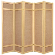 Oriental Furniture 71'' x 70'' Jute Shoji 5 Panel Room Divider; Natural