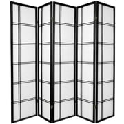Oriental Furniture 70'' x 70'' Double Cross Shoji 5 Panel Room Divider; Black