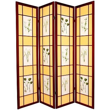 Oriental Furniture 72'' x 56'' Herbal Floral Shoji 4 Panel Room Divider; Rosewood