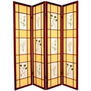 Oriental Furniture 72'' x 56'' Herbal Floral Shoji 4 Panel Room Divider; Rosewood