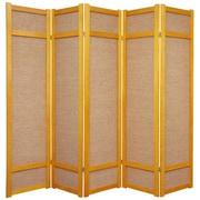 Oriental Furniture 71'' x 70'' Jute Shoji 5 Panel Room Divider; Honey