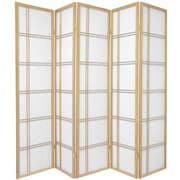 Oriental Furniture 70'' x 70'' Double Cross Shoji 5 Panel Room Divider; Natural