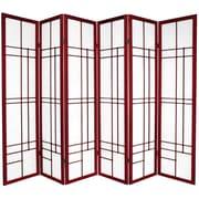 Oriental Furniture 70.25'' x 84'' Eudes Shoji 6 Panel Room Divider; Rosewood